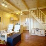 salon i aneks kuchenny w domku Krotki Szpic w Istebnej