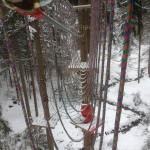 park linowy zimą w Istebnej
