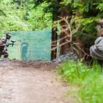 podczas paintaballu w lesie w Istebnej