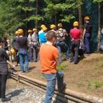 Szkolenie przed parkiem linowym podczas wyjazdu firmowego